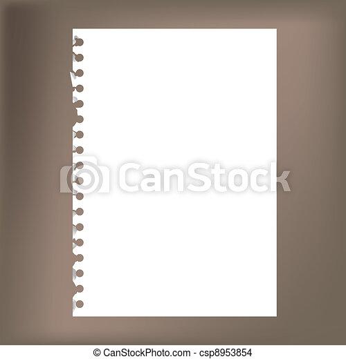 -, bloc-notes, haut, illustration, papier, vide, fin - csp8953854