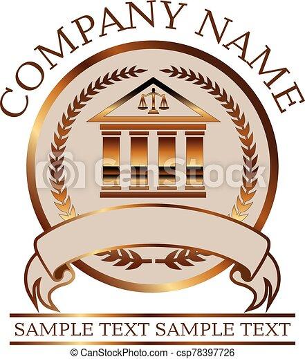 -, colonnade, droit & loi, avocat, cachet, ou, or - csp78397726