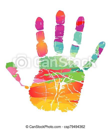 -, coloré, handprint, llustration - csp79494362