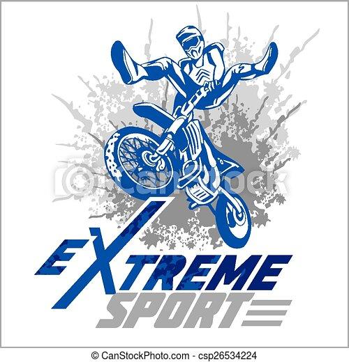 -, emblem., vecteur, moto, sport, extrême - csp26534224
