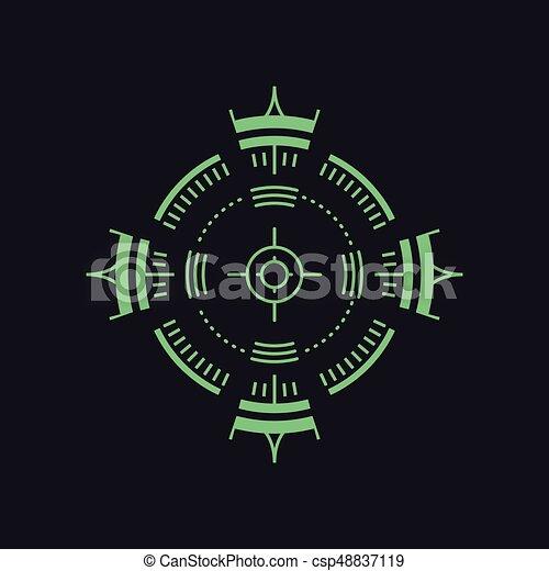 -, symbole, ou, backsight, tireur embusqué, icône, but, radar - csp48837119