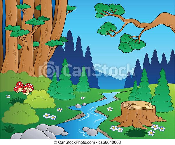 1, dessin animé, paysage, forêt - csp6640063