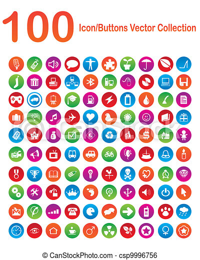 100, vecteur, collection, icon-buttons - csp9996756