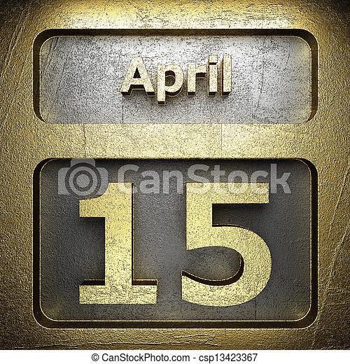 15 avril, doré, signe - csp13423367