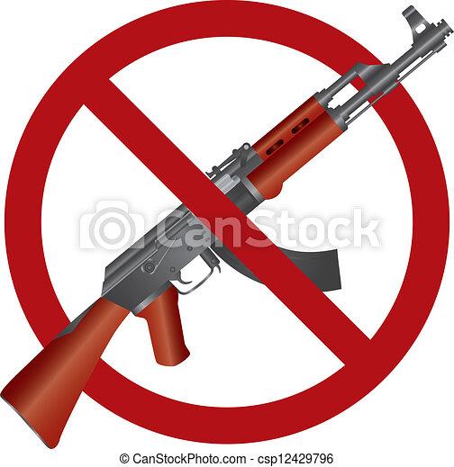 47, ak, fusil, illustration, fusil assaut, interdiction - csp12429796