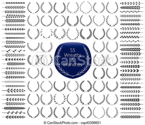55, set., vecteur, branches, couronnes - csp40398651