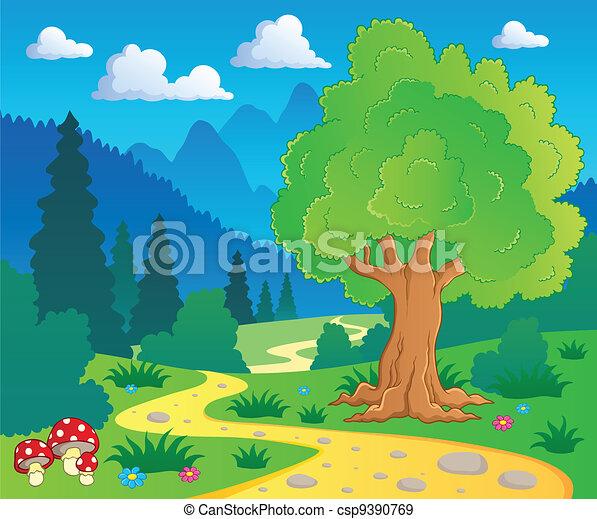8, dessin animé, paysage, forêt - csp9390769