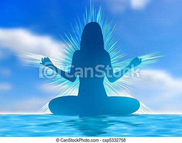 8, silhouette, eps, humain, meditating. - csp5332758