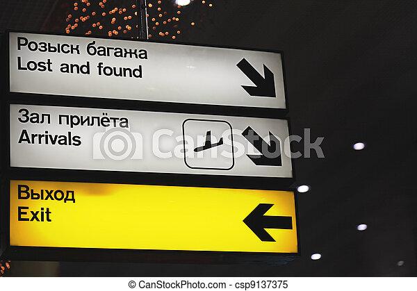 aéroport., signes, information - csp9137375