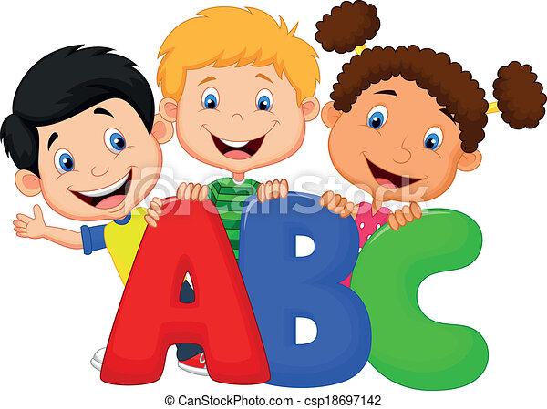 abc, dessin animé, gosses, école - csp18697142