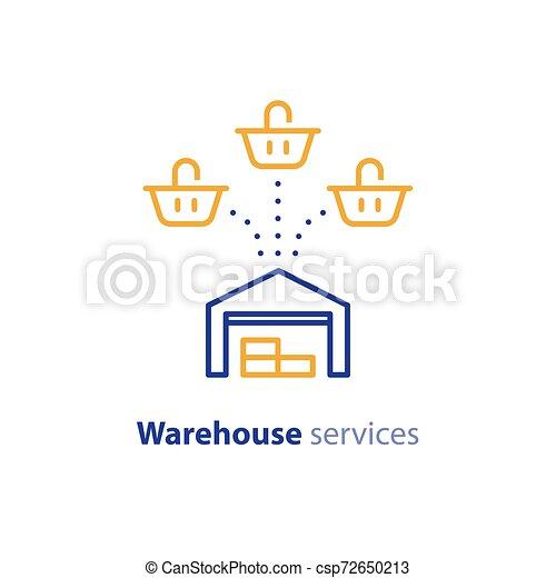 achat, multiple, option, expédition, une, entrepôt, services, panier, icône - csp72650213