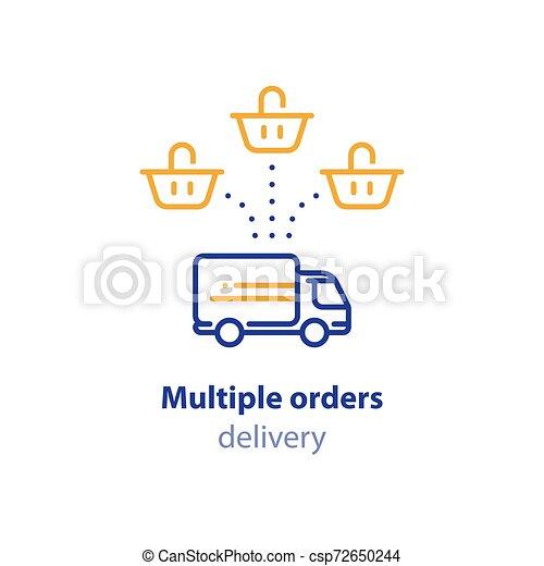 achat, paquet, option, expédition, une, services, panier, multiple, icône - csp72650244