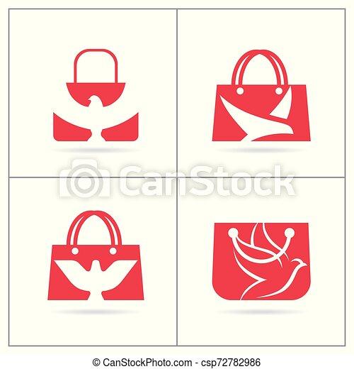achats, ensemble, agence voyage, sac main, vecteur, logo, stylique oiseau, design. - csp72782986