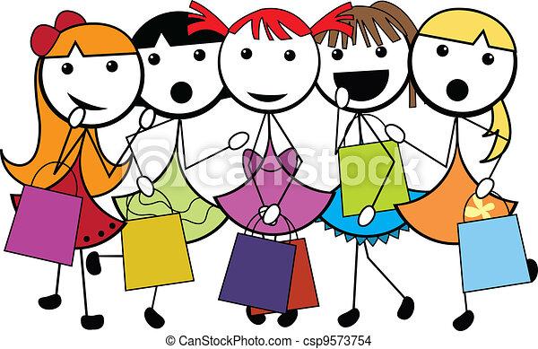 achats, filles, dessin animé, crosse - csp9573754