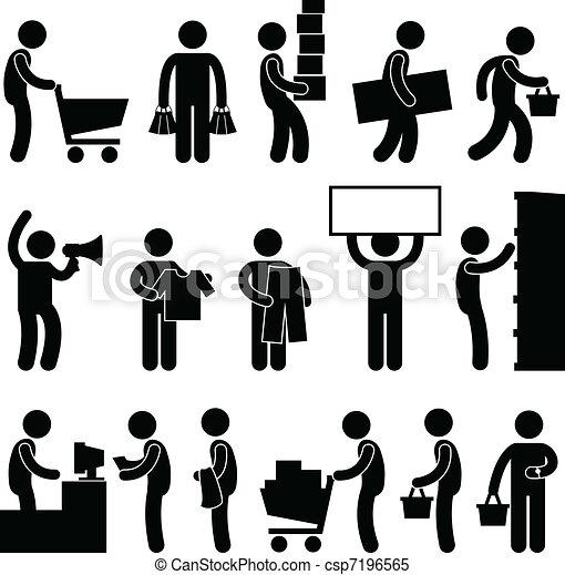 achats, gens, vente, charrette, file, homme - csp7196565