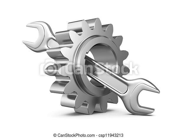 acier, outillage, engrenage, clé - csp11943213