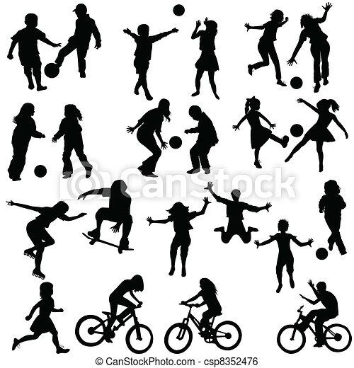 actif, groupe, enfants - csp8352476