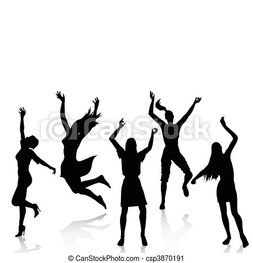 actif, silhouettes, femmes heureuses - csp3870191