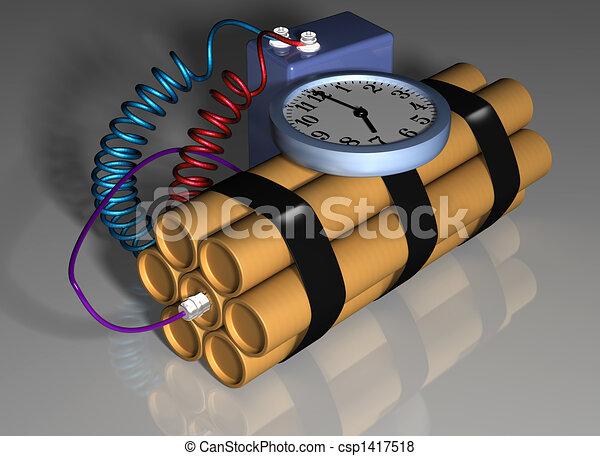 action, bombe, amorcé, temps - csp1417518