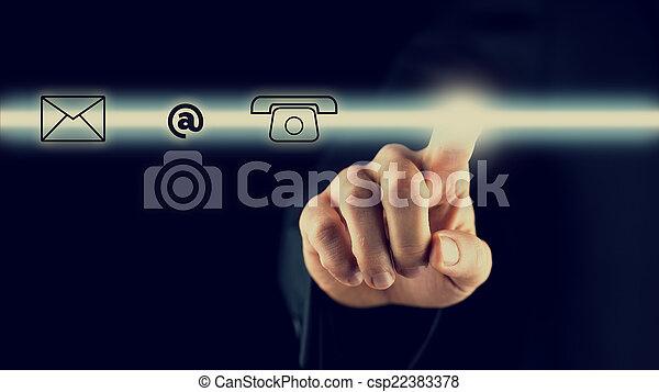 activer, contact, barre, homme, icônes - csp22383378
