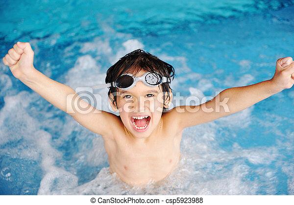 activités, piscine, jouer, eau, été, enfants, bonheur, natation - csp5923988