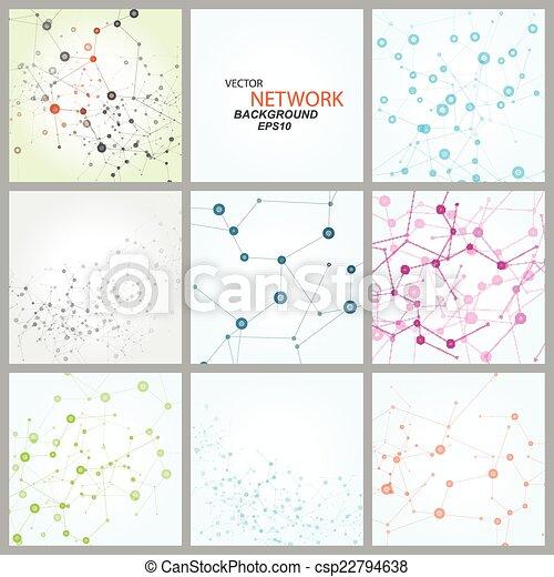 adn, réseau, couleur, connexion, vecteur, atome - csp22794638