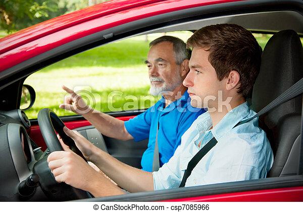 adolescent, apprentissage, conduire - csp7085966