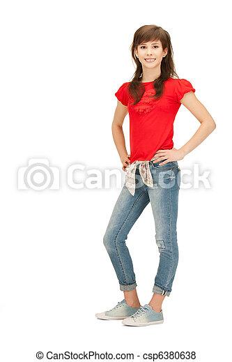 adolescent, insouciant, girl, heureux - csp6380638