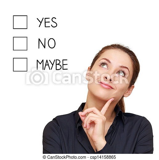 affaires femme, non, pensée, peut-être, décision, isolé, oui, fond, confection, blanc, ou - csp14158865