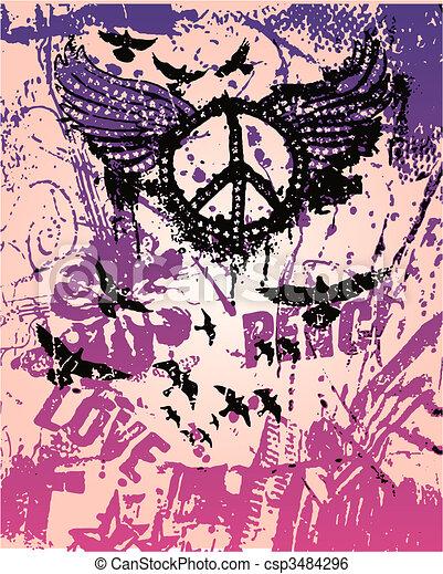 affiche, paix, art, pop, signe - csp3484296
