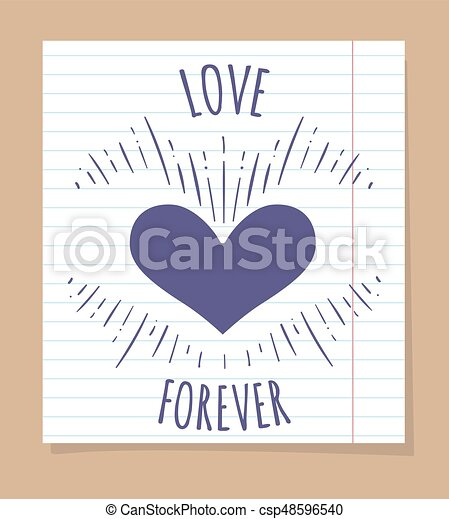 affiche, toujours, amour, linéaire, page - csp48596540