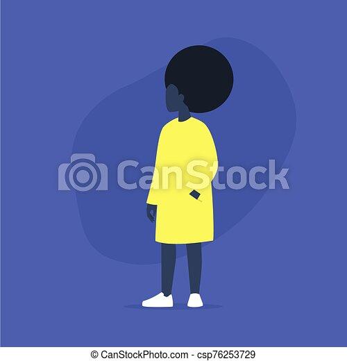 africaine, plus, désinvolte, femme, modèle, corps, movement., porter, vêtements, taille, positif - csp76253729