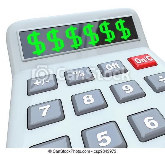 ajouter, calculatrice, dollar, budget, coûts, signes, coûteux - csp9843973