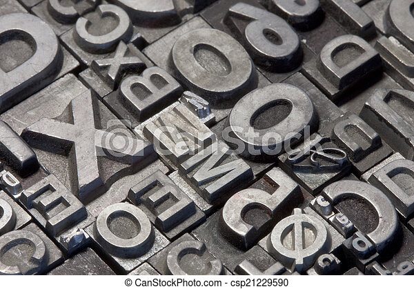 aléatoire, lettres, plomb, letterpress, arrangement - csp21229590