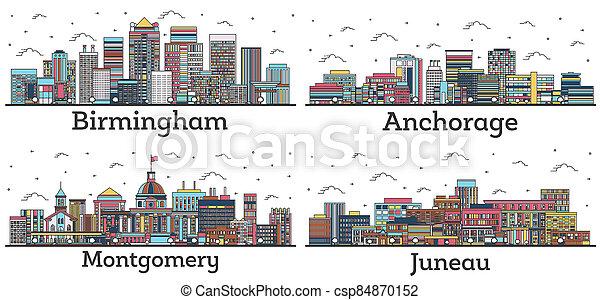 alabama, horizon, juneau, white., bâtiments, contour, couleur, isolé, ville, montgomery, alaska, anchorage, birmingham - csp84870152