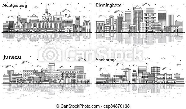 alabama, juneau, horizons, contour, ensemble, bâtiments., ville, montgomery, alaska, anchorage, birmingham, moderne - csp84870138