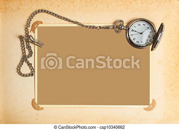 album, chaîne, horloge, vendange, retro, page - csp10340662