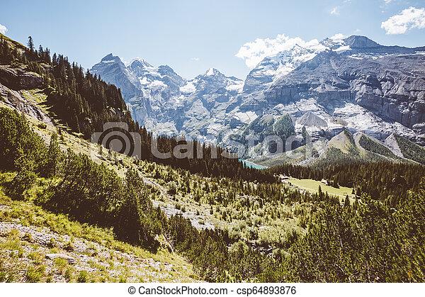 alpes, scénique, kandersteg., lac, environs, emplacement, suisse, oeschinensee. - csp64893876