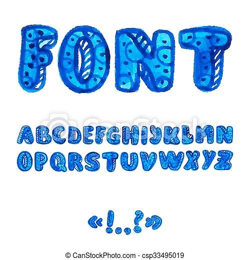 alphabet, symbols., aquarelle, manuscrit - csp33495019