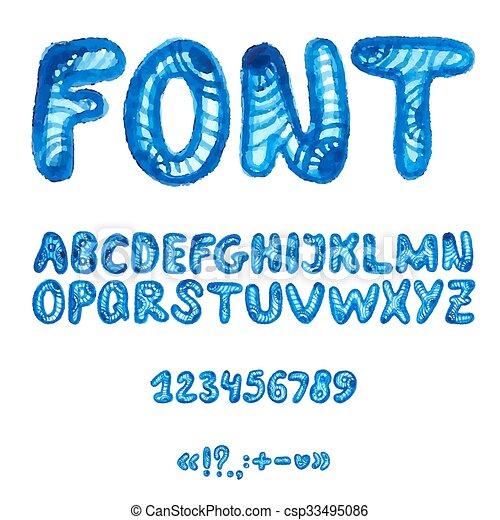alphabet, symbols., aquarelle, manuscrit - csp33495086