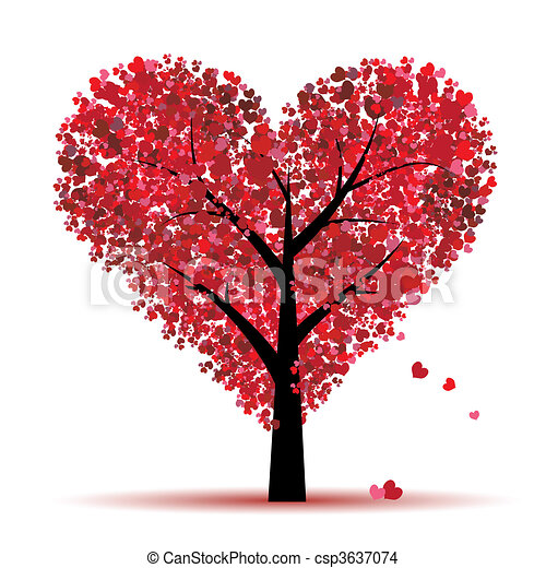 amour, feuille, arbre, cœurs, valentin - csp3637074