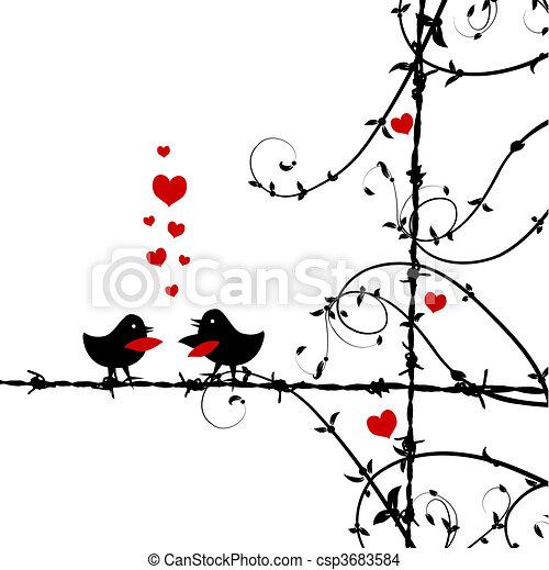 amour, oiseaux, branche, baisers - csp3683584