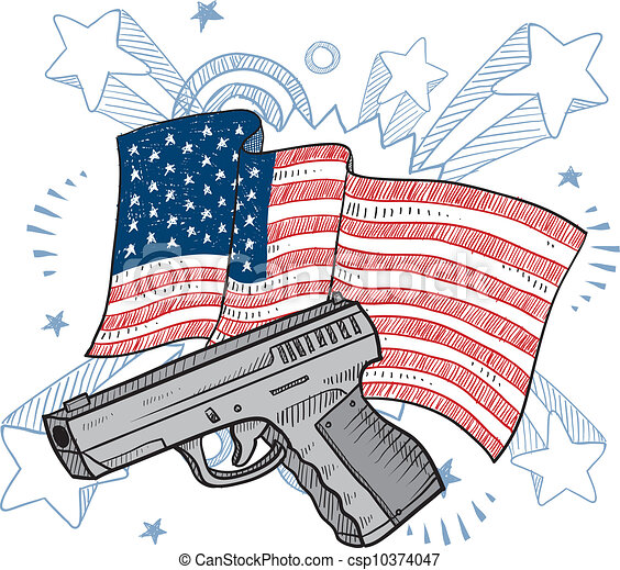 amours, fusils, amérique, croquis - csp10374047