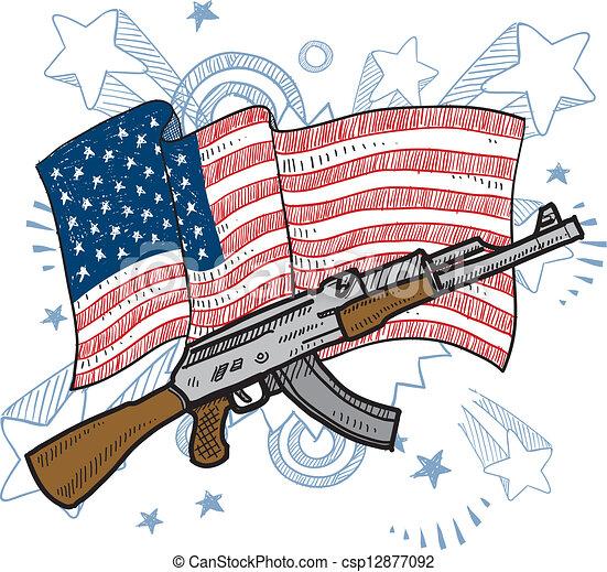 amours, fusils assaut, croquis, amérique - csp12877092