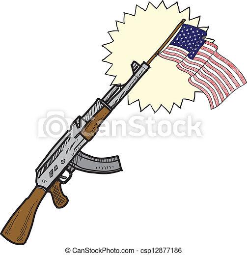 amours, fusils assaut, croquis, amérique - csp12877186