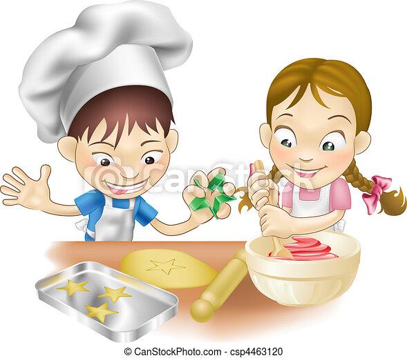 amusement, avoir, deux, cuisine, enfants - csp4463120