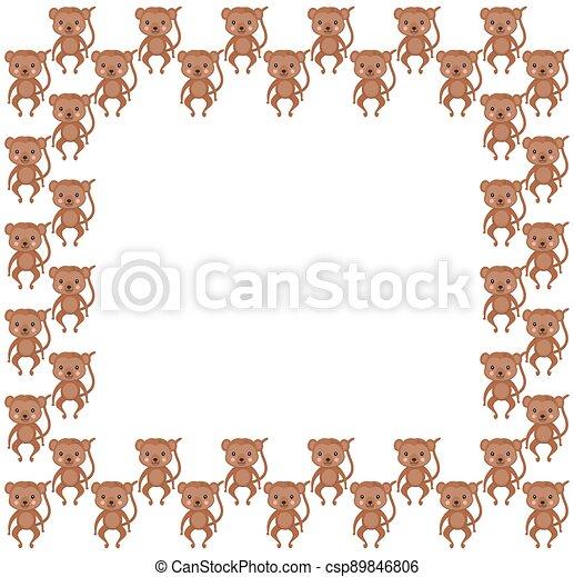 animaux, cadre, ruddy, mignon, brun, space., vector., africaine, text., carré rose, border., copie, lumière, joues, araignés, jouet, blanc, couleur, adoré, singes, arrière-plan. - csp89846806