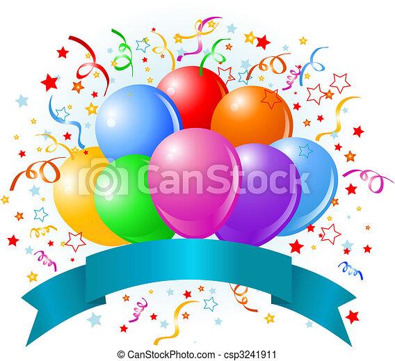 anniversaire, ballons, conception - csp3241911