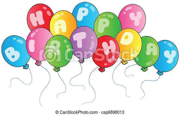 anniversaire, ballons, heureux - csp6898013