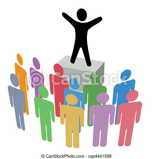 annonce, tribune improvisée, groupe, campagne, communication - csp4441598
